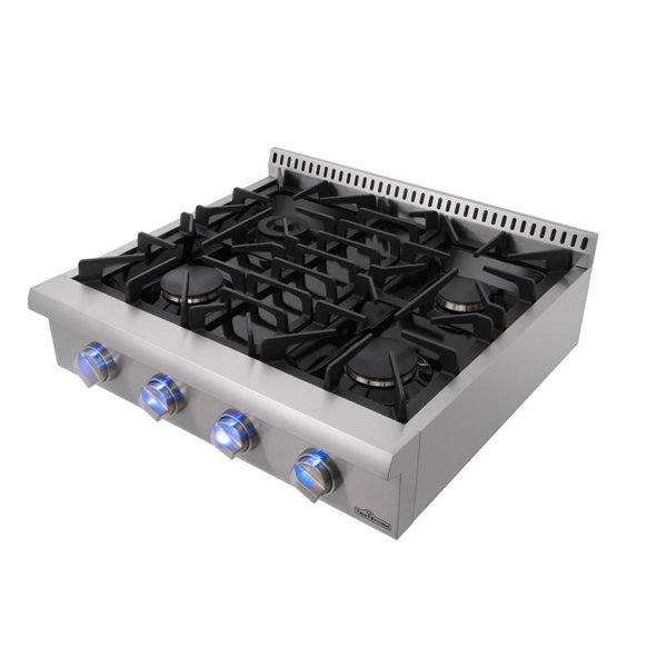 Thor Kitchen Gas Range Top in Stainless Steel with 4 Burners - 30-in