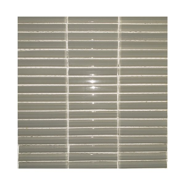 Mono Serra Glass Mosaic Smoked Stack Tiles -  12'' x 12'' - Light Grey