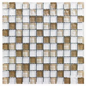 """Tuile en mosaique à verre de Mono Serra, 12"""" x 12"""", blanc/brun"""