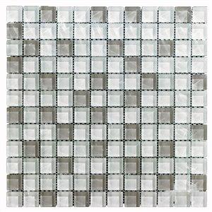 """Tuile en mosaique à verre de Mono Serra, 12"""" x 12"""", blanc/gris"""