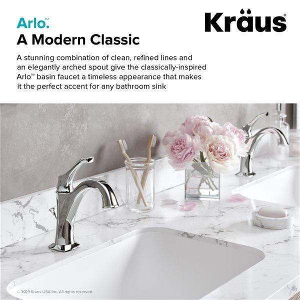 Kraus Arlo Bathroom Sink Faucet - 1-Handle - 8-in - Brushed Gold