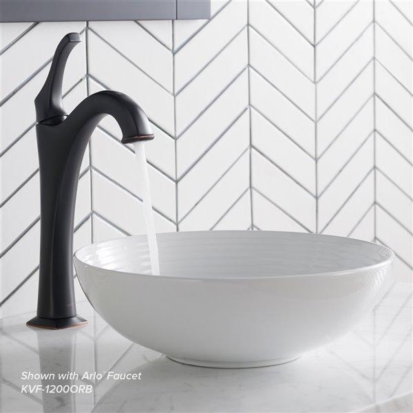 Kraus Viva Round Vessel Bathroom Sink - 13-in - White