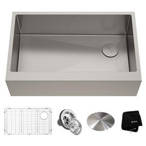 Évier de cuisine simple champêtre à tablier Standart PRO de Kraus, 32,88 po, acier inoxydable