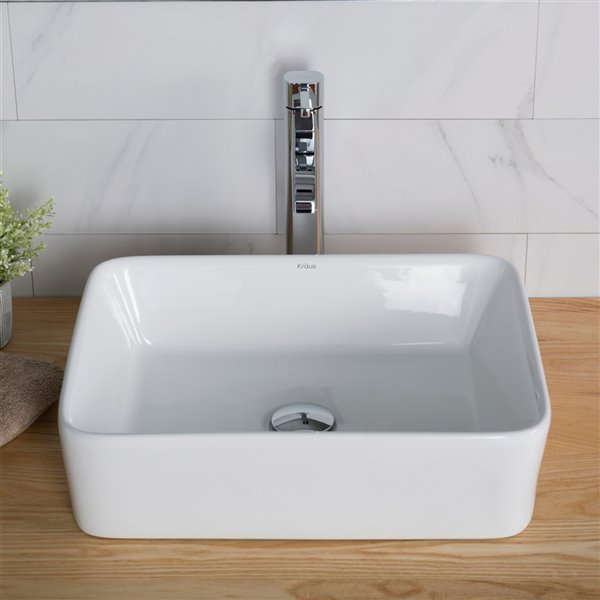 Kraus Rectangular Vessel Bathroom Sink with Ramus Faucet - 14.25-in - White