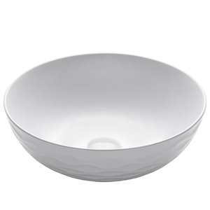 Kraus Viva Round Vessel Bathroom Sink - 16.50-in - White