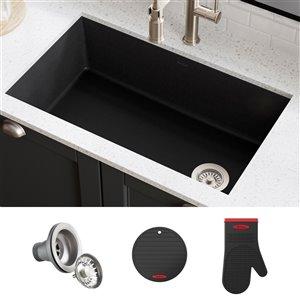 Kraus Forteza Undermount Kitchen Sink - Single Bowl - 31.75-in - Black