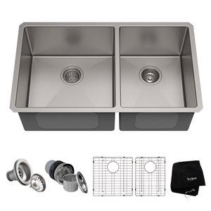 Évier de cuisine double sous plan Standart PRO de Kraus, 32,75 po, acier inoxydable