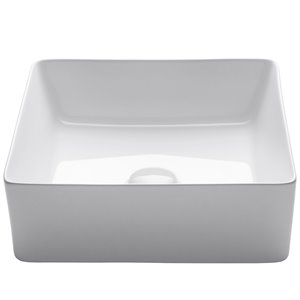 Kraus Viva Square Vessel Bathroom Sink - 15.63-in - White