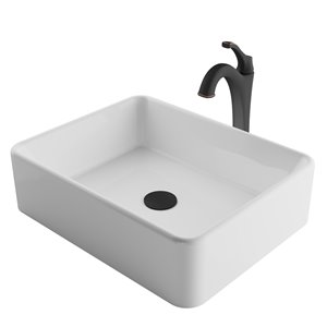 Kraus Ceramic Rectangular Vessel Bathroom Sink with Arlo Faucet - White