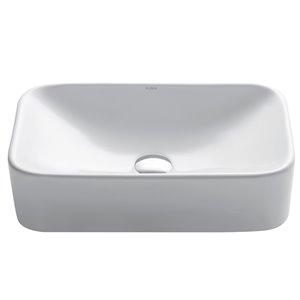 Kraus Ceramic Rectangular Vessel Bathroom Sink - 19.38-in - White