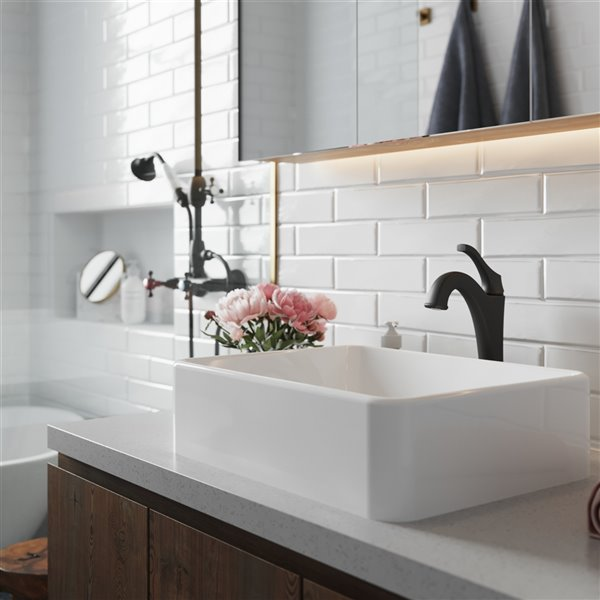 Kraus Ceramic Rectangular Vessel Bathroom Sink with Arlo Faucet - 15.25-in - White