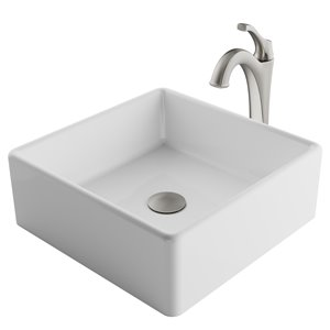 Kraus Ceramic Square Vessel Bathroom Sink with Arlo Faucet - 15.25-in - White