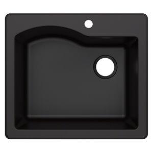 Kraus Quarza Drop-In/Undermount Kitchen Sink - Single Bowl - 25-in - Black