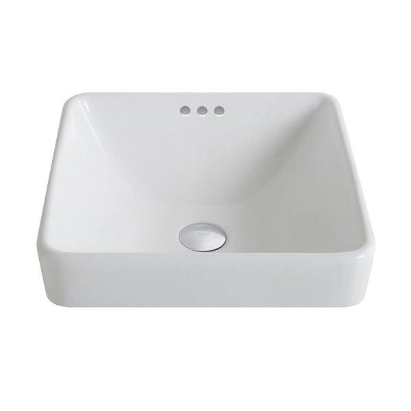 Kraus Elavo Square Drop-In Bathroom Sink - 16.25-in - White Ceramic