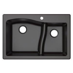 Kraus Quarza Drop-In/Undermount Kitchen Sink - Double Offset Bowl - 33-in - Black