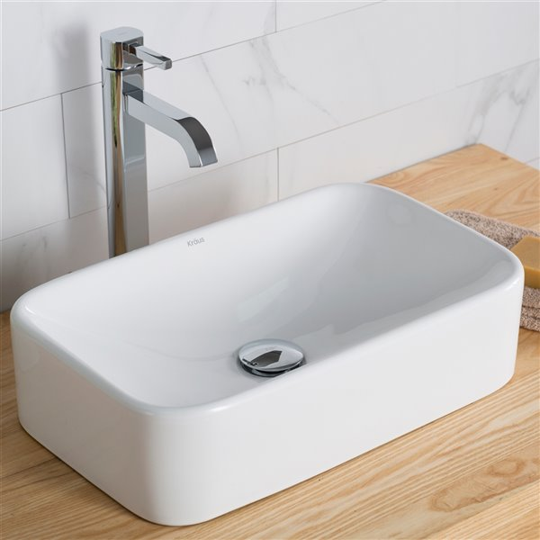 Kraus Ceramic Rectangular Vessel Bathroom Sink with Faucet - 11.75-in - White
