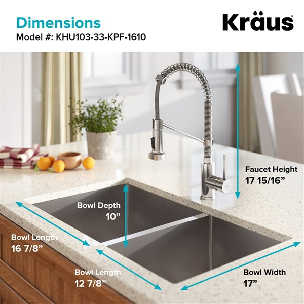 Kraus Standart PRO Undermount Kitchen Sink All-in-One Kit - Double Bowl - 32.75-in - Stainless Steel