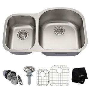 Kraus Premier Undermount Kitchen Sink - Double Offset Bowl - 32.38-in - Stainless Steel