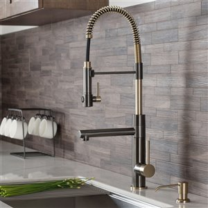 Kraus Artec Pro Pull-Down Kitchen Faucet - Single Handle - Black Stainless/Brushed Gold