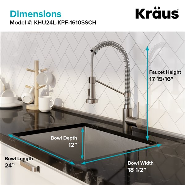 Kraus Pax Undermount Kitchen Sink All-in-One Kit - Single Bowl - 24-in - Stainless Steel