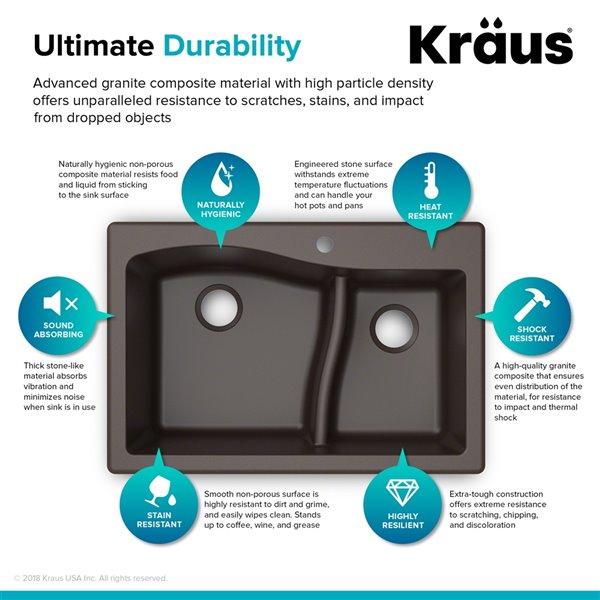 Kraus Quarza Drop-In/Undermount Kitchen Sink - Double Offset Bowl - 33-in - Brown