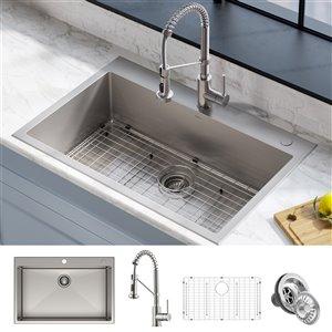 Kraus Stark Undermount Kitchen Sink - Single Bowl - 33-in - Stainless Steel