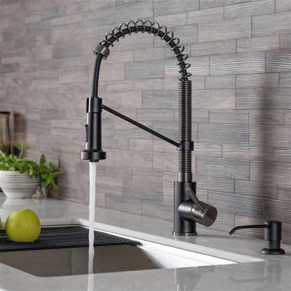 Kraus Bolden Pull-Down Kitchen Faucet - Single Handle - Matte Black/Black Stainless