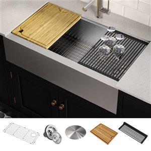Kraus Kore Apron front/Farmhouse Workstation Kitchen Sink - Single Bowl - 35.88-in - Stainless Steel