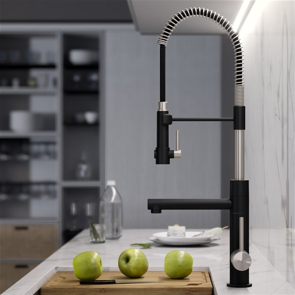 Kraus Artec Pro Pull-Down Kitchen Faucet - Single Handle - Stainless Steel/Matte Black