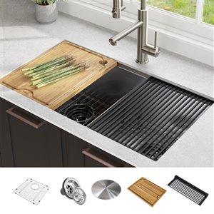 Évier de cuisine double sous plan avec plan de travail Kore de Kraus, 33 po, acier inoxydable