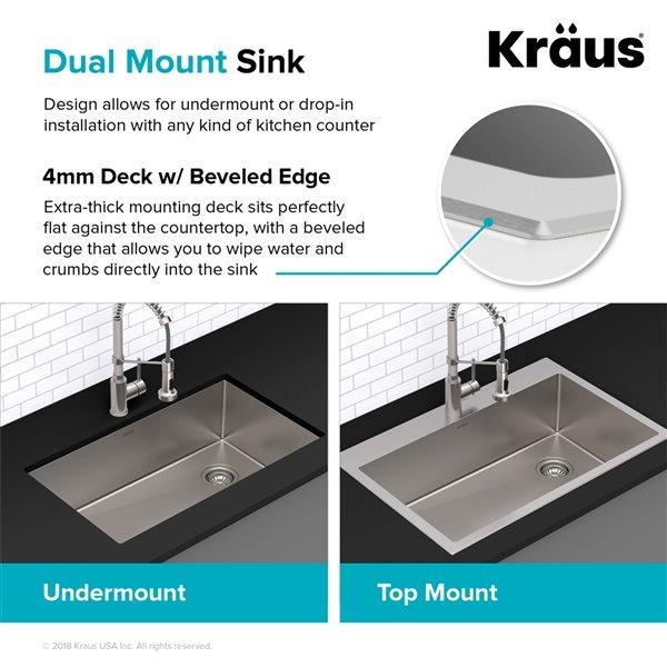 Kraus Standart Pro Drop In Kitchen Sink Single Bowl 18 In Stainless Steel Kht301 18 Rona