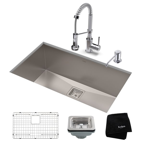 Kraus Pax Undermount Kitchen Sink with Chrome Faucet  - Single Bowl - 31.5-in - Stainless Steel