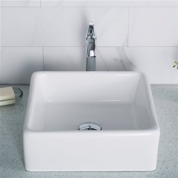 Kraus Elavo Ceramic Square Vessel Bathroom Sink - 15.25-in - White