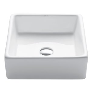 Kraus Elavo Ceramic Square Vessel Bathroom Sink - 15.25-in - White