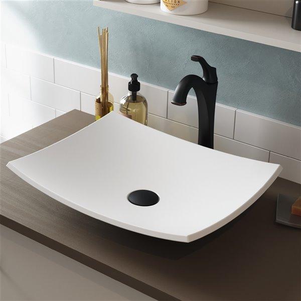 Kraus Natura Modern Rectangular Vessel Bathroom Sink - Matte White