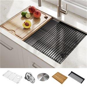 Évier de cuisine simple sous plan avec plan de travail Kore de Kraus, 30 po, acier inoxydable