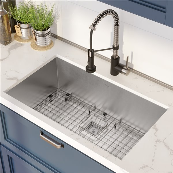 Kraus Pax Undermount Kitchen Sink with Faucet - Single Bowl - 31.5-in - Stainless Steel