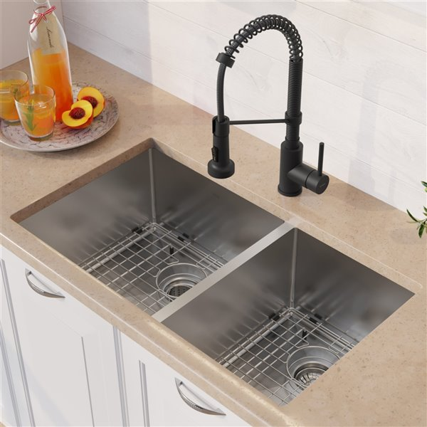 Kraus Standart PRO Undermount Kitchen Sink All-in-One Kit - Double Offset Bowl - 32.75-in - Stainless Steel