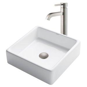 Kraus Ceramic Square Vessel Bathroom Sink and Ramus Faucet- 15-in - White