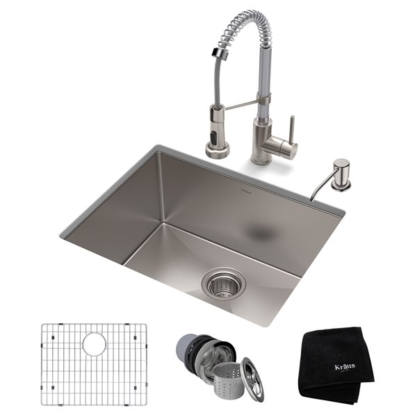 Kraus Standart PRO Undermount Kitchen Sink with Chrome Faucet - Single Bowl - 23-in - Stainless Steel