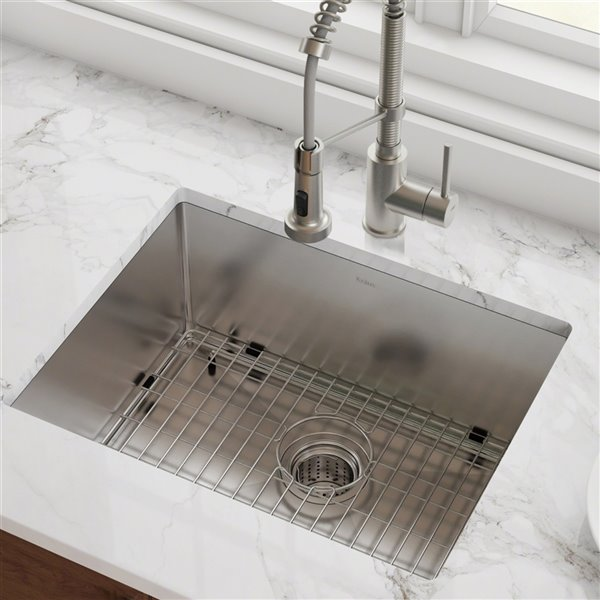 Kraus Standart Pro Undermount Kitchen Sink Single Bowl 23 In X 18 In Stainless Steel Khu101 23 Rona
