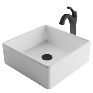 Kraus Square Vessel Bathroom Sink and Arlo Faucet - 15.25-in - White Ceramic