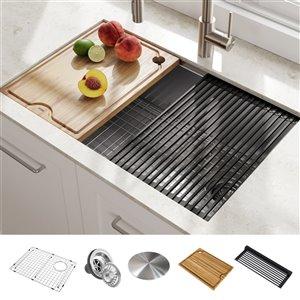 Évier de cuisine simple sous plan avec plan de travail Kore de Kraus, 27 po, acier inoxydable