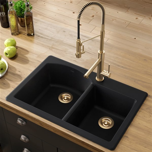 Kraus Forteza Drop In Undermount Kitchen Sink Double Offset Bowl 33 In Black Kgd 50black Rona