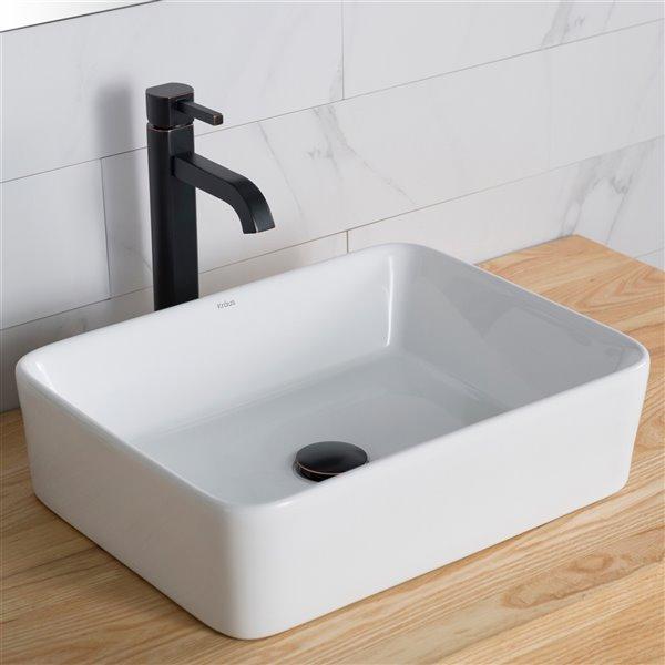Kraus Rectangular Vessel Bathroom Sink with Ramus Faucet - 14.25-in - White Ceramic