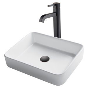 Kraus Rectangular Vessel Bathroom Sink with Ramus Faucet - 14.25-in - White Ceramic