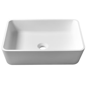 Kraus Natura Rectangular Vessel Bathroom Sink - 13.75-in - Matte White