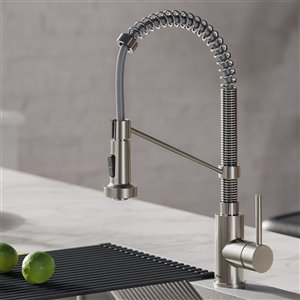 Kraus Bolden Pull-Down Kitchen Faucet - Single Handle - 18-in - Stainless Steel/Chrome