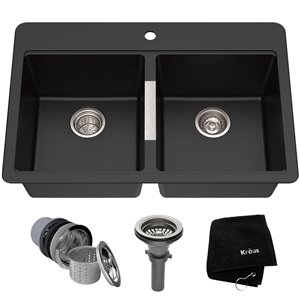 Kraus Quarza Drop-In/Undermount Kitchen Sink - Double Equal Bowl - 33-in - Black Onyx