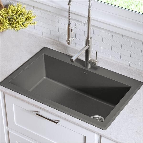 Kraus Forteza Drop In Undermount Kitchen Sink Single Bowl 33 In Grey Kgd 54grey Rona